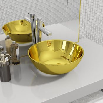Umivaonik 28 x 10 cm keramički zlatni