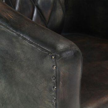 Zaobljena fotelja od prave kože pohabana siva