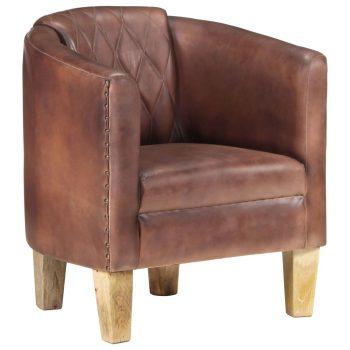 Zaobljena fotelja od prave kože pohabana smeđa