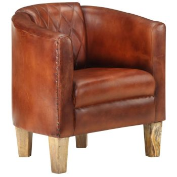 Zaobljena fotelja od prave kože smeđa