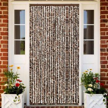 Zastor protiv insekata smeđe-bijeli 100 x 220 cm šenil