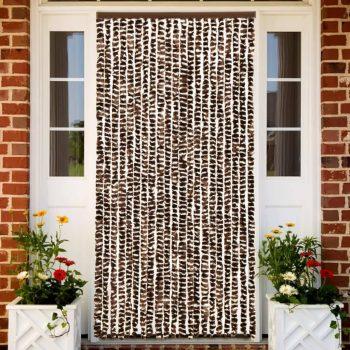 Zastor protiv insekata smeđe-bijeli 56 x 185 cm šenil