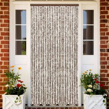 Zastor protiv insekata smeđe-sivi i bijeli 56 x 185 cm šenil