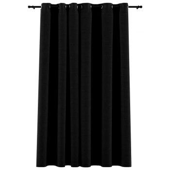 Zavjesa za zamračivanje s prstenima crna 290 x 245 cm